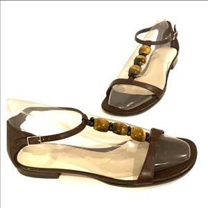CALVIN KLEIN Leather Beaded Brown Flat Sandals 7.5
